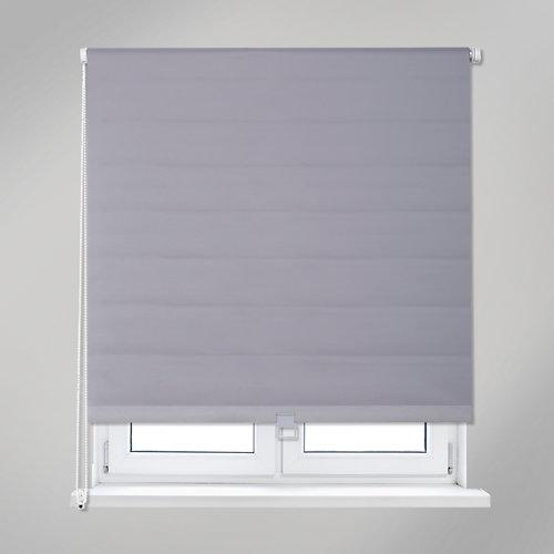 """""""Estor enrollable opaco de diseño liso y color gris. Con composición de poliéster y Pvc, para impedir el paso de la luz solar. Tirador de plástico. Medidas: 91 x 190 (ancho total x alto)."""