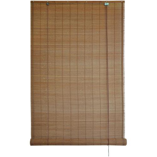 Estor enrollable de bambú exterior marrón inspire de 90x300cm