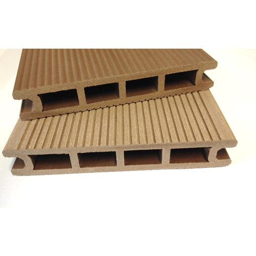 Lama de composite alveolar marrón red wood 14x230 cm y 24 mm