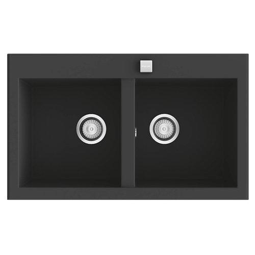 Fregadero 2 senos de resina rectangular poalgi shira 506 80x80cm