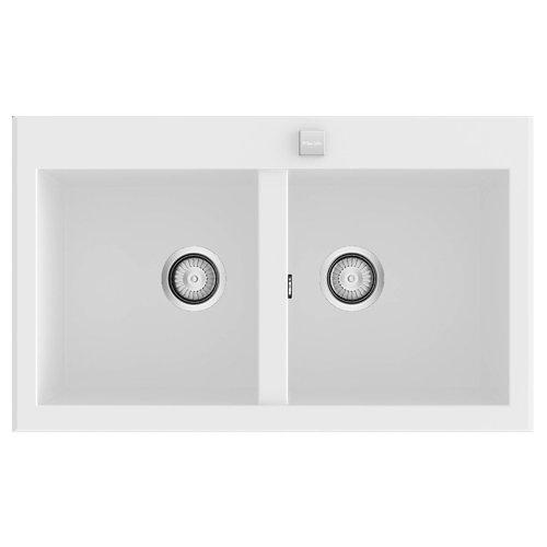 Fregadero 2 senos de resina rectangular poalgi shira 506 80 x 52 cm
