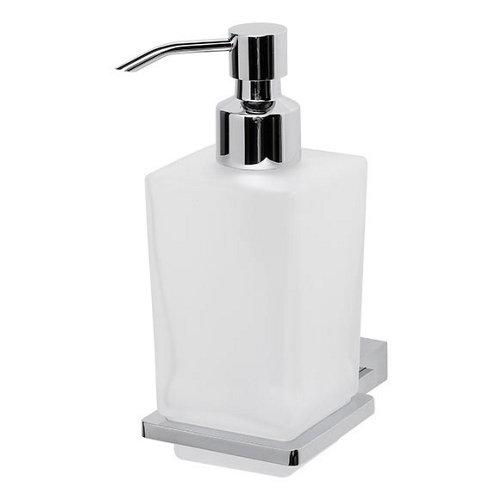 Dispensador de jabón kansas de cristal gris / plata