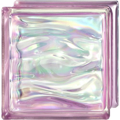 Bloque de vidrio ondulado amatista iridiscente 19x19x8 cm