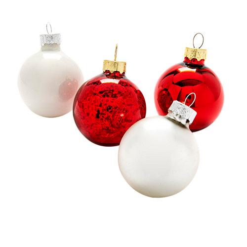 Pack de 20 bolas vidrio rojo y blanco ø 4 cm