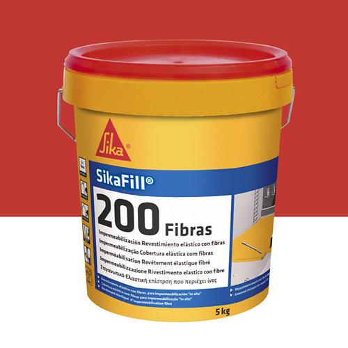 Impermeabilizante sikafill 200 fibras rojo teja de 5 kg
