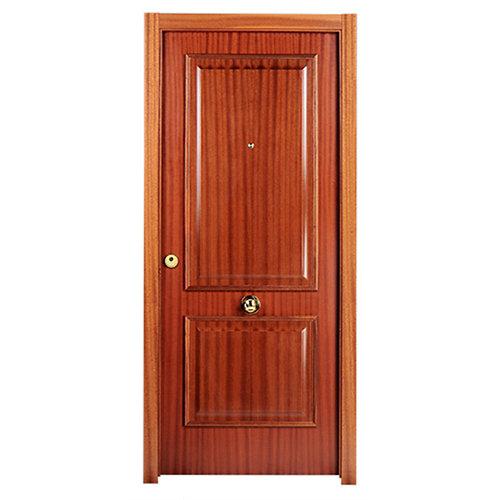 Puerta de entrada blindada 2 cuadros derecha sapelly/blanco de 85.7x205 cm