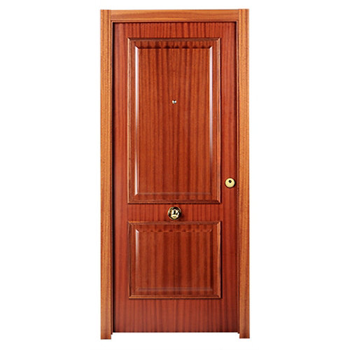 Puerta de entrada blindada 2 cuadros izquierda sapelly/blanco de 85.7x205 cm