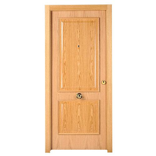 Puerta de entrada blindada 2 cuadros izquierda roble/blanco de 85.7x205 cm
