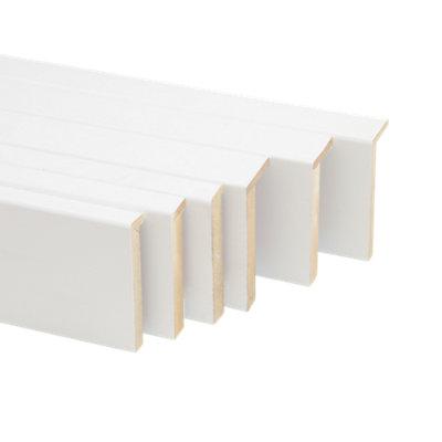 Kit de 5 tapetas en L de madera blanco 80 x 12 mm