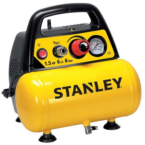 Compresor sin aceite stanley dc 200/8/6 de 1.5 cv y 6l de depósito