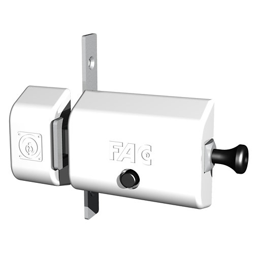 Cerrojo de seguridad botón/llave de 80 mm ancho blanco