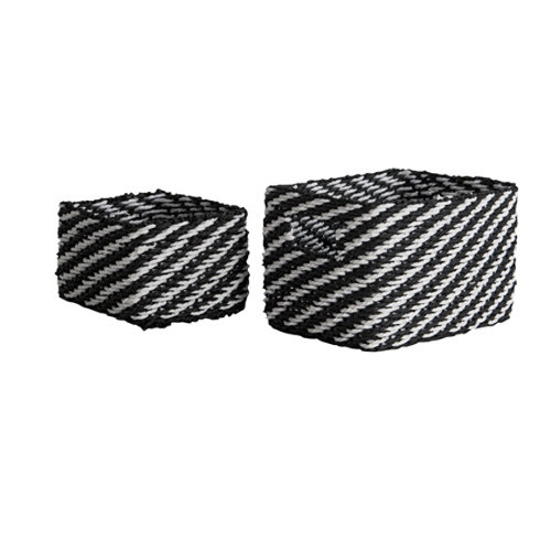 Set de 2 cestas rayas negro/blanco