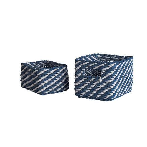 Set de 2 cestas rayas azul/blanco