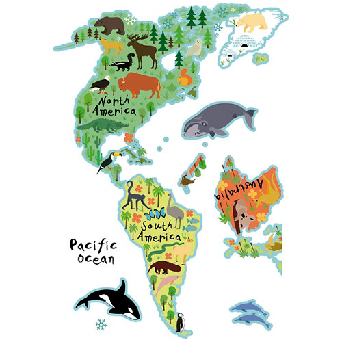Stickers infantil mapa animales 48x68 cm