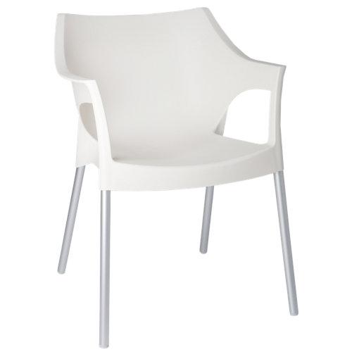 Silla de exterior pole de resina blanca 78,5x60x60 cm