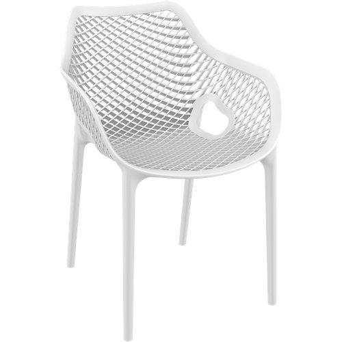 Silla de exterior de resina grid xl blanco 81x57x60 cm