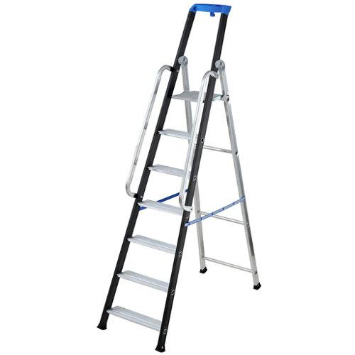 Escalera para almacén de tijera aluminio 7 peldaños anchos