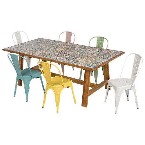 Conjunto de muebles de exterior soho de acacia y cerámica para 6 comensales