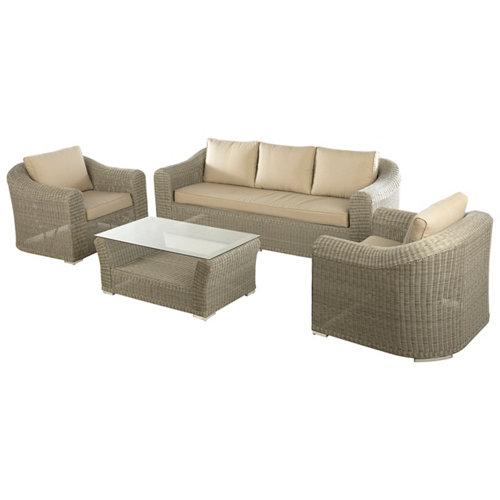 Conjunto de muebles de exterior barbados de aluminio para 5 comensales