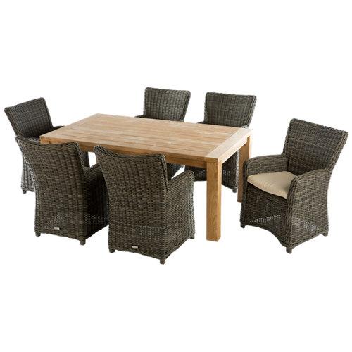 Conjunto de muebles de exterior australia de teca reciclada para 6 comensales