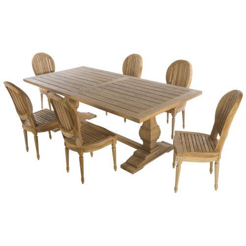 Conjunto de muebles de exterior versalles de teca para 6 comensales