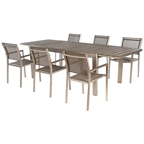 Conjunto de muebles de exterior albany extensible de aluminio para 6 comensales