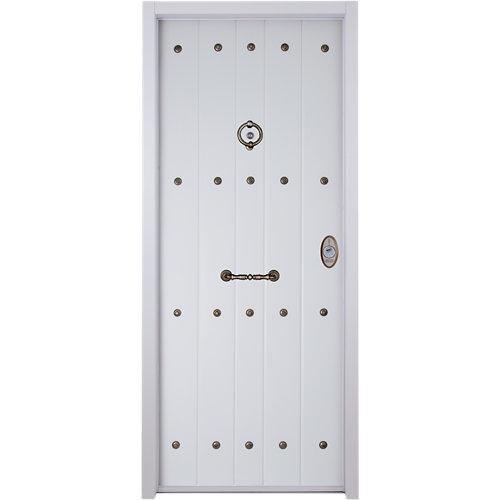 Puerta de entrada acorazada blanco rústica de apertura izquierda de 89x206 cm