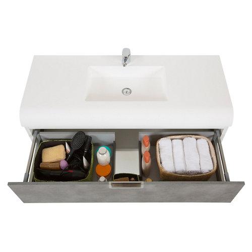 Mueble baño y lavabo capsul gris 120x48 cm