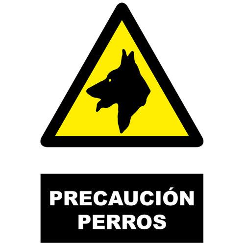 Cartel precaucion perros 34x23cm