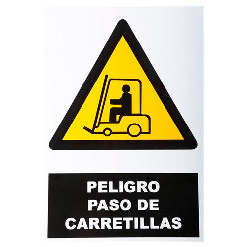 Cartel peligro paso carretilla 34x23cm