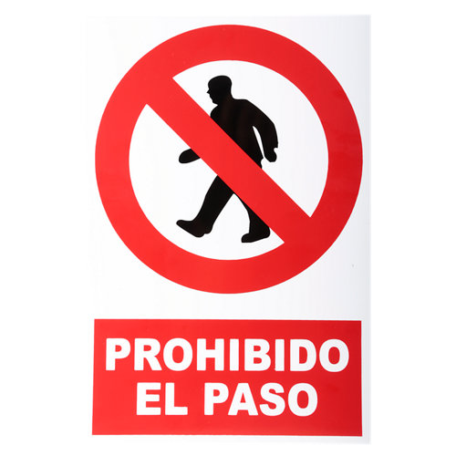 Cartel entrada prohibida 34x23cm