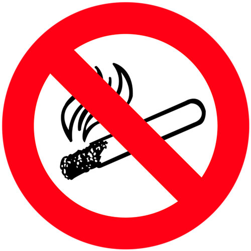 Cartel adhesivo prohibido fumar 15x15cm