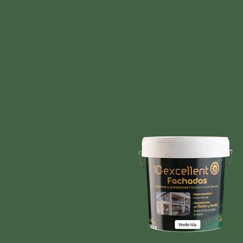 Pintura para fachadas elastica 10excellent verde isla 4l
