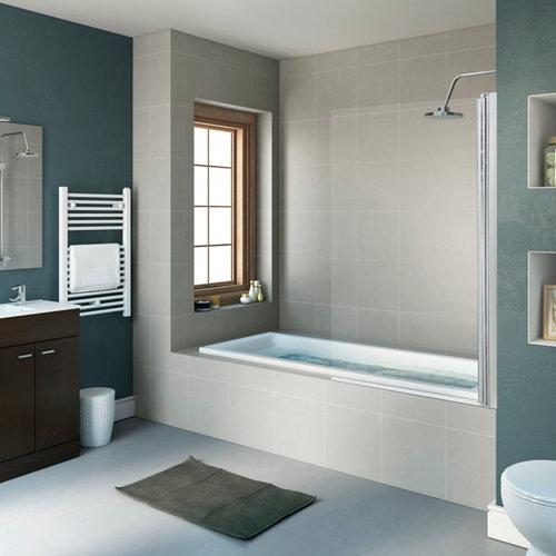 Mampara bañera transparente cromado dado 1 hoja 80 x 140 cm