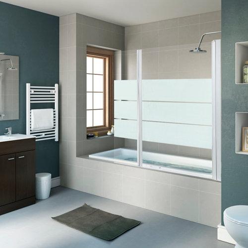 Mampara bañera dado serigrafiado blanco 2 hojas 80+35x140cm