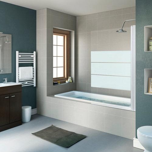 Mampara bañera dado 1 hoja 80 cm cromado serigrafiado