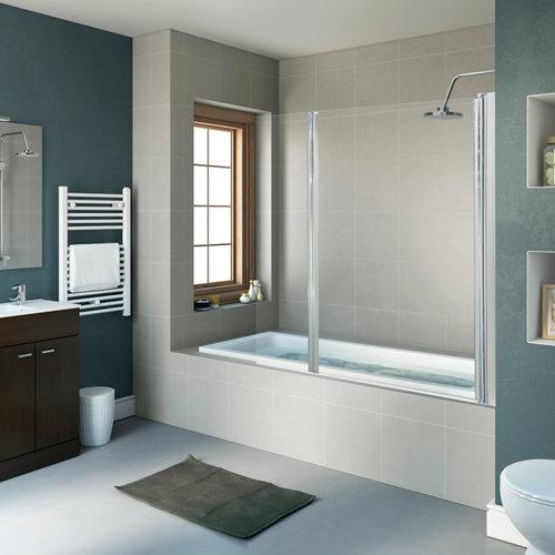 Mampara bañera transparente cromado dado 2 hojas 80+35x140cm