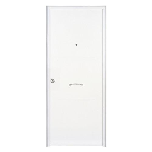 Puerta de entrada metálica derecha blanco de 89x208 cm