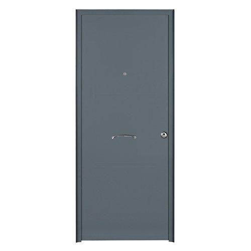 Puerta de entrada metálica izquierda gris de 93x209.5 cm