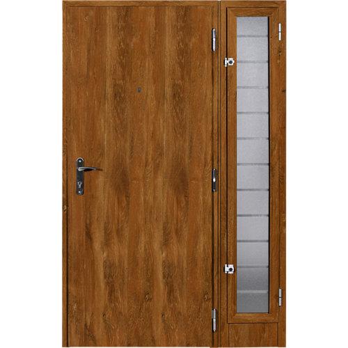 Puerta de entrada metálica izquierda roble de 93x209.5 cm
