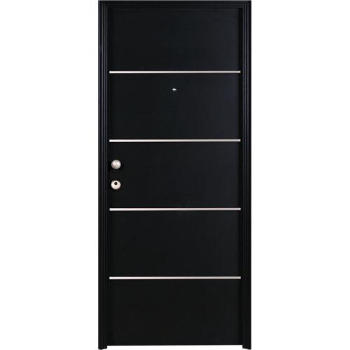 Puerta de entrada metálica derecha negro de 93x209.5 cm