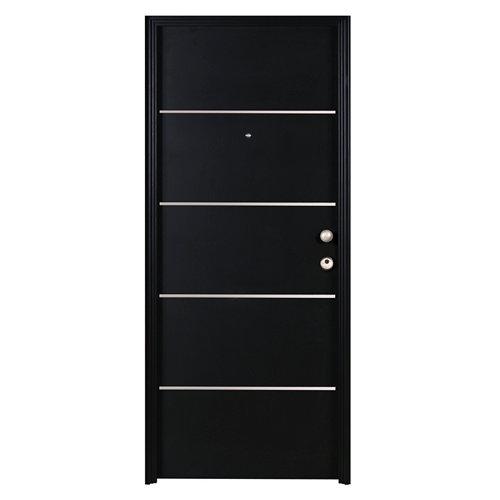 Puerta de entrada metálica izquierda negro de 93x209.5 cm