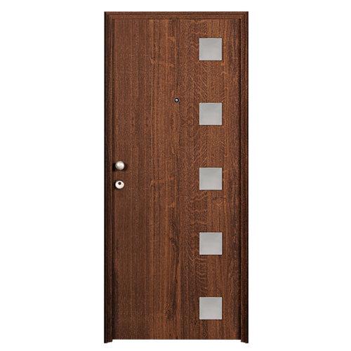 Puerta de entrada metálica derecha roble de 93x209.5 cm