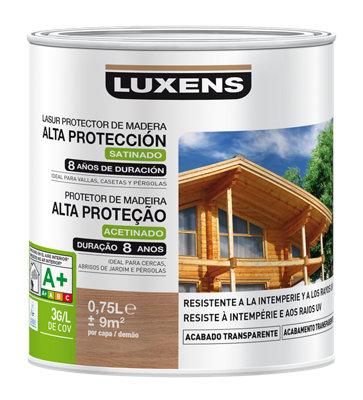 Protector madera exterior larga duración LUXENS satinado 750 ml castaño