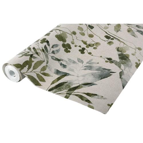 Papel pintado tradicional vegetal textil ramas verde