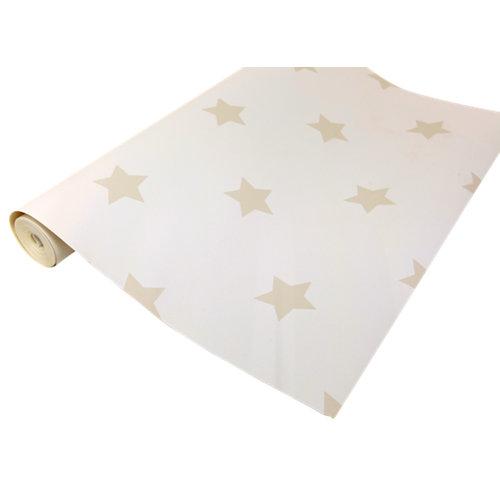 Papel pintado tradicional infantil estrellas beige