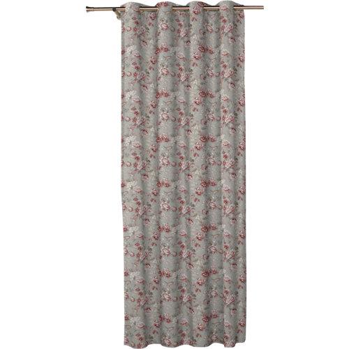 Cortina corona con motivo floral gris de 270 x 140 cm