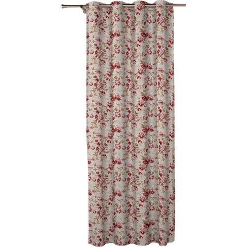 Cortina corona con motivo floral rojo de 270 x 140 cm