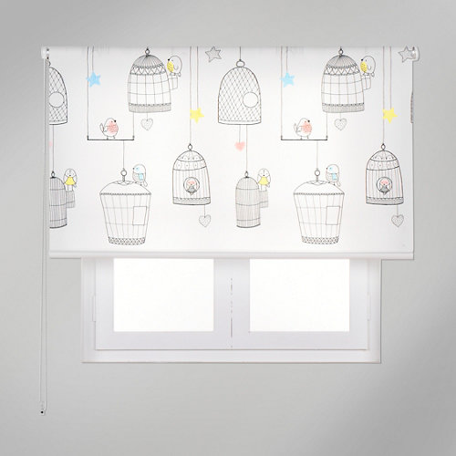 Estor enrollable app pajaro jaula multicolor de 109x250cm