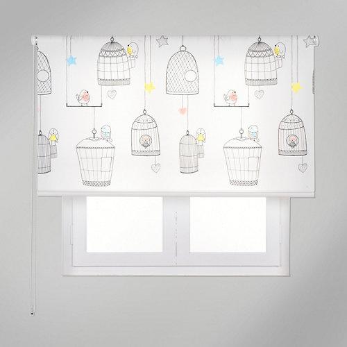 Estor enrollable app pajaritos jaula multicolor de 94x250cm